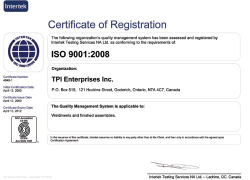 tpi awards certificate